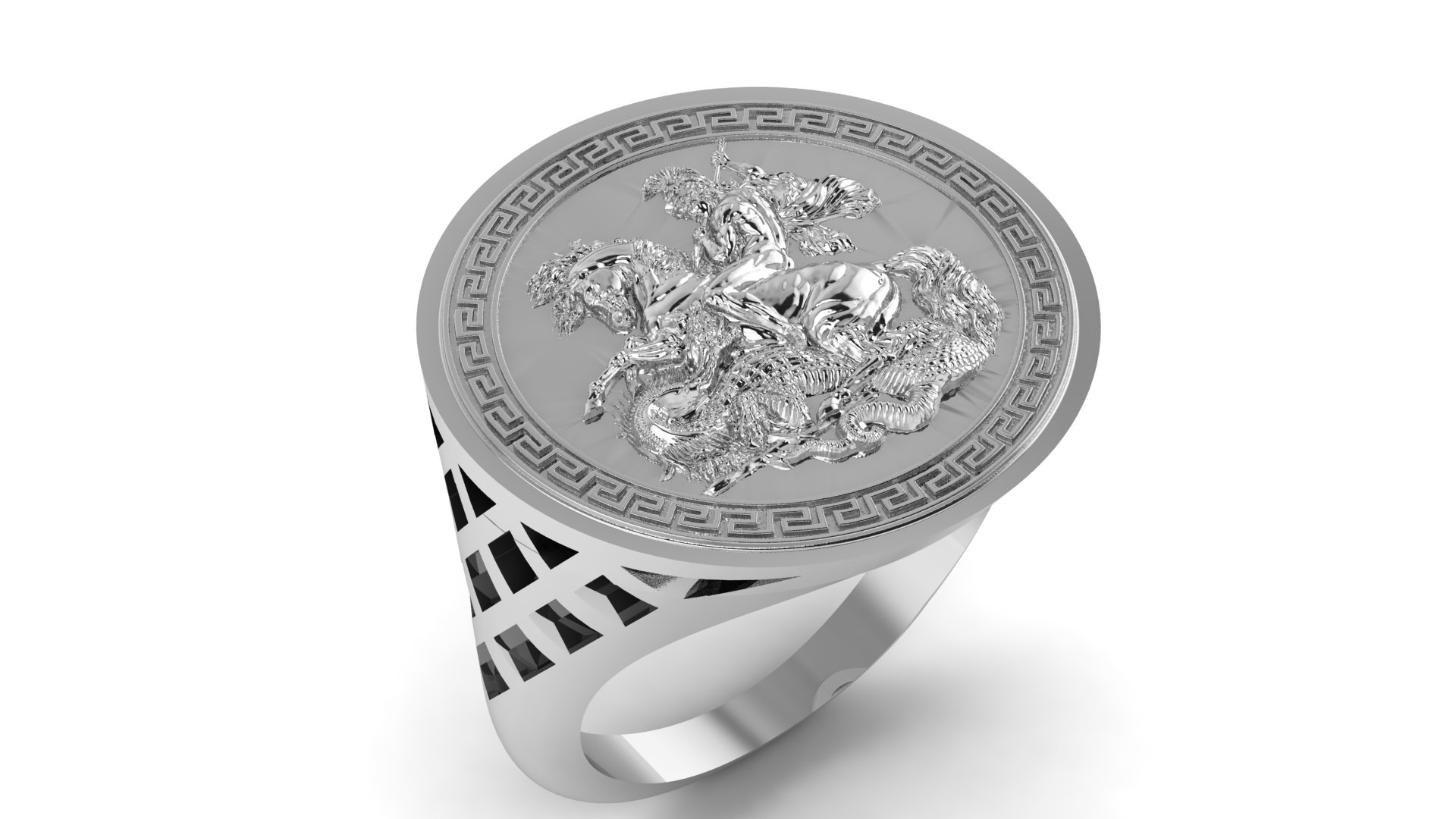 Sterling Silver Gents 5 Row Keeper Ring.